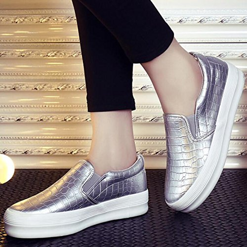 Silver Slip COVOYYAR Loafers Women's Flat Snake Fashion Casual Sneakers Platform Print On Pq1O6qUawT