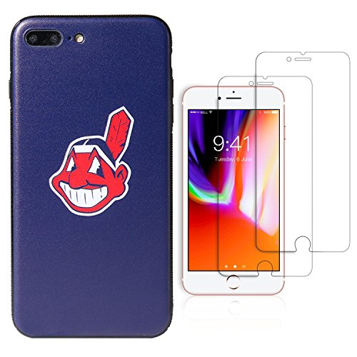 Cleveland Indians Case - Sportula MLB Phone Case Matching 2 Premium Screen Protectors Extra Value Set - for iPhone 7 Plus/iPhone 8 Plus (5.5