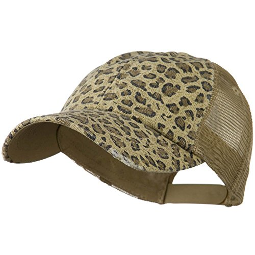 - Low Profile Canvas Leopard Print Mesh Trucker Cap, Khaki
