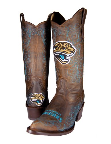 NFL Jacksonville Jaguars Women's Flyer Pull Up Western Boot, Brown, 7 by Old Pro Leathers