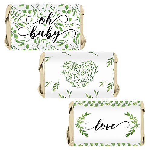 Greenery Baby Shower Mini Candy Bar Wrappers - 45 Stickers
