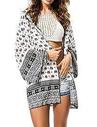 Juruaa Womens Kimono Chiffon Sheer Swimsuit Cover up Summer Beach Cardigan