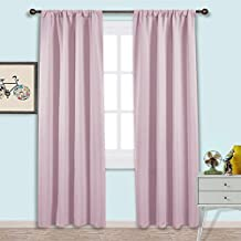 NICETOWN Rod Pocket Blackout Curtains - Nursery Essential Thermal Insulated Solid Drapes (1 Pair,42 x 84 Inch in Pink Quartz)