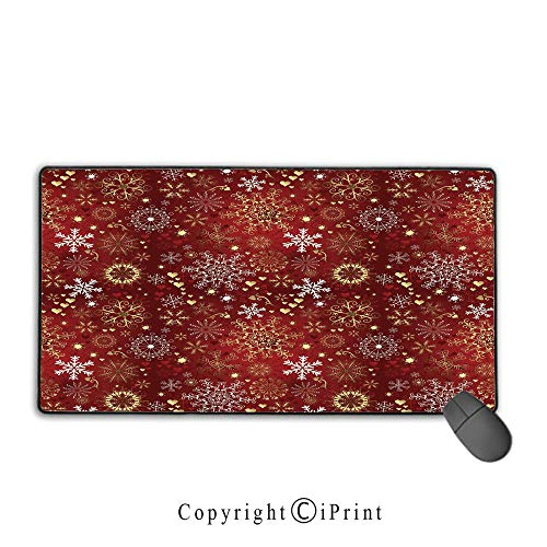 - Office and Home Waterproof Coated Mouse pad,Winter,Old Fashioned Christmas Mix with Hearts and Swirls Vintage Festive Composition Decorative,Ruby Gold White, Non-Slip Rubber Base,9.8