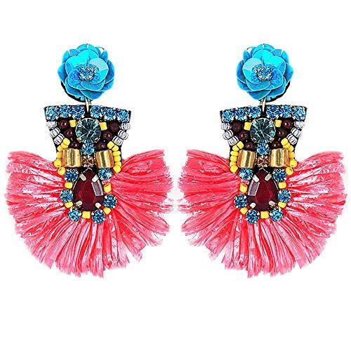 (Boho Sequin Flower with Raffia Post Earrings Handmade (Pink))