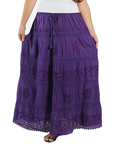KayJayStyles Full Length Womens Solid Embroidered Gypsy Bohemian Long Cotton Skirt (Purple) One Size