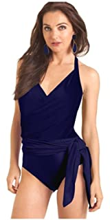 7e0f07e3a4d Carol Wior Navy Blue Wrap Swimsuit with Control with Attached 3 Way Sarong  31164N