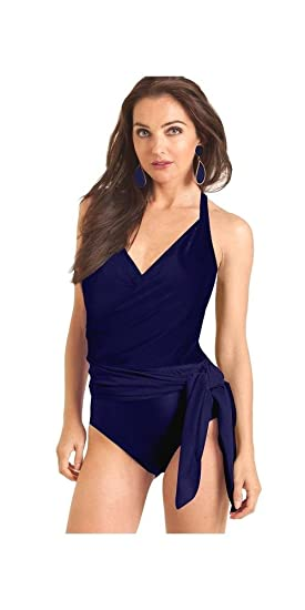 5fe120c9eebcd Carol Wior Navy Blue Wrap Swimsuit with Control with Attached 3 Way Sarong  31164N (6