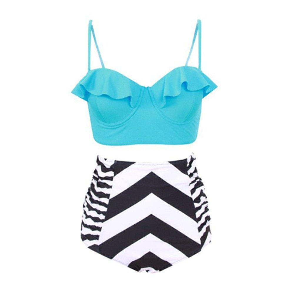 GTKC Frauen Bademode Hohe Taille Push up Bikini Set Vintage Print  Badeanzüge Rüsche Große Größen Urlaub Swimwear Beachwear: Amazon.de:  Bekleidung