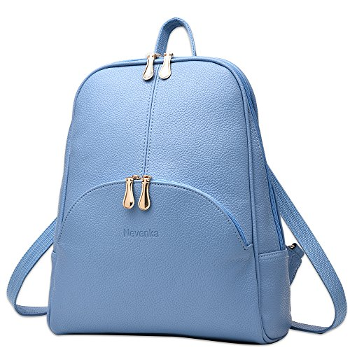 Nevenka Brand Women Bags Backpack PU Leather Zipper Bags Purse Casual Backpacks Shoulder Bags (BLUE)