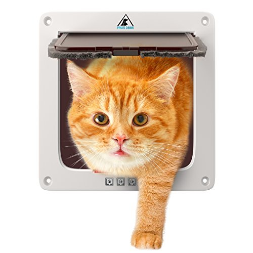 Cat door for big cats and Small dogs 7.5 x 7.8 Inch large entry flap with Four Way Locking System White plastic pet gate with magnet for interior, exterior wall and windows Weather proof