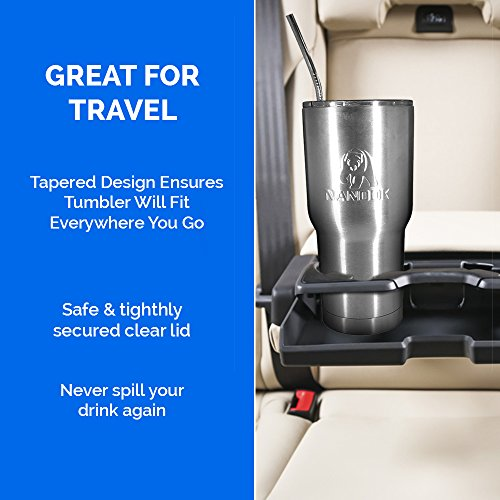 with Clear Lid Stainless Steel Double-Wall Vacuum Insulated for Ice Cold Drink and Hot Beverages Nanook Tumbler Travel Mug 30 oz Stainless Steel Straw and Cleaning Brush in Gift-Ready Box