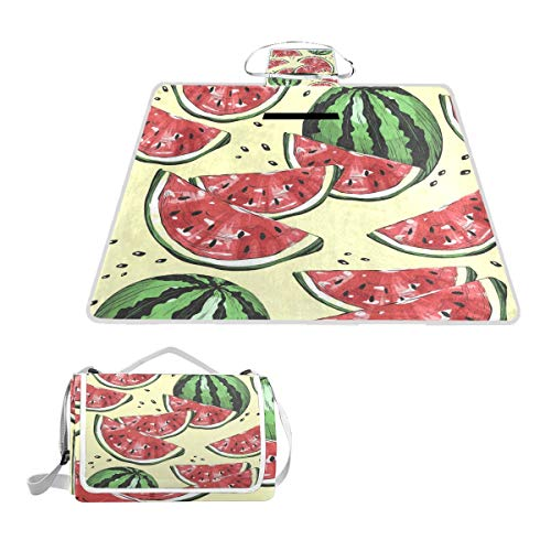 (FunnyCustom Picnic Blanket Watermelons and Dots Outdoor Blanket Portable Moisture Proof Picnic Mat for Beach Camping)
