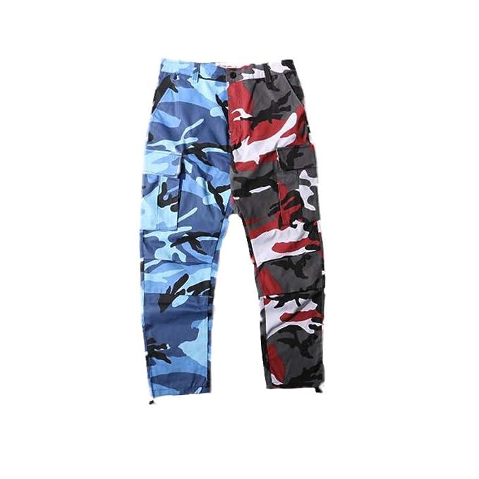 Yying Uomo Donna Jogger Camouflage Camo Pantaloni Stile Militare Pantaloni  Cargo Pantaloni Larghi Hip Hop Streetwear Bicolore Army Toursers Blu +  Rosso 2XL  ... f6d260ece988