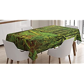 Farm House Decor Tablecloth by Ambesonne, Idyllic Lush Rainforest in Canadian Island with Ferns Moss on Tree Nature Photo, Dining Room Kitchen Rectangular Table Cover, 60 W X 90 L Inches, Green