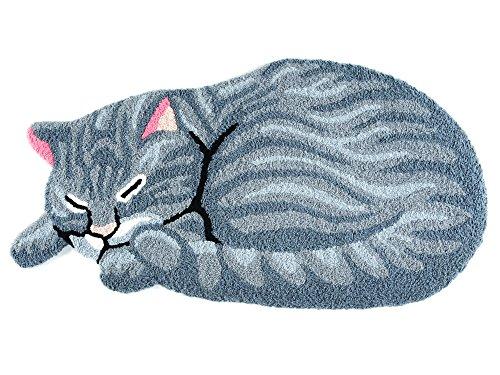 Hughapy Grey Cute Sleeping Cat Shaped Bedroom Area Rug, Christmas Tabby Cat carpet (Size:33.5