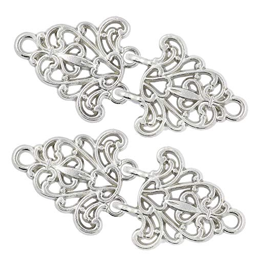 Bezelry 4 Pairs Filigree Trivet Cape or Cloak Clasp Fasteners. 64mm x 29mm Fastened. Sew On Hooks and Eyes Cardigan Clip - Girl Trivet