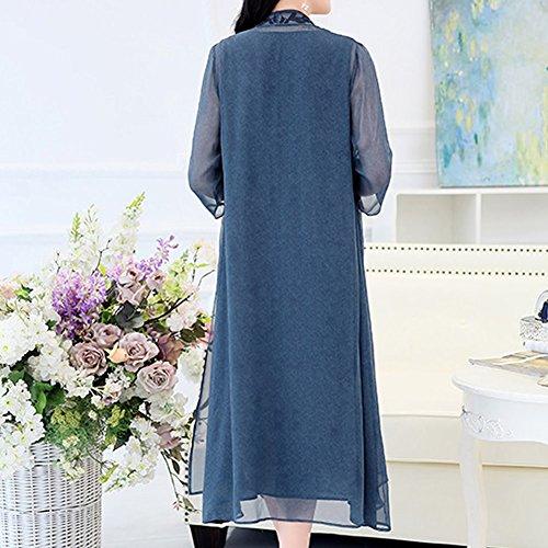 Abendkleid Übergröße Midi S1718 DISSA Flowered Blau Cocktail Damen Kleid Seide Kleider wxzRfTq