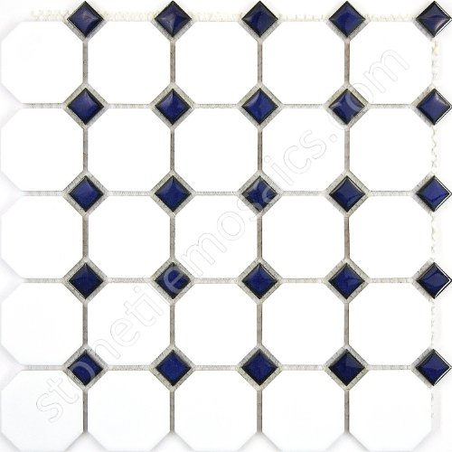 Vogue Octagon Porcelain Mosaic Tile Matte White with Glossy Cobalt Blue Dots Designed in Italy (Box of 5 sq. ft.)