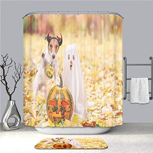 BEICICI Creative Shower Curtain and Bath mat Rug Kid and Dog Dressed in Halloween Costumes with Jack o Lantern Pumpkins Custom Stylish,Waterproof,Mildew Proof Bathroom Set -