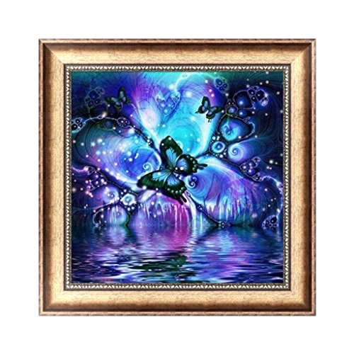 OHTOP 5D Diamond Painting, DIY Craft Butterfly Rhinestone Cross Stitch Embroidery Home Wall Decor