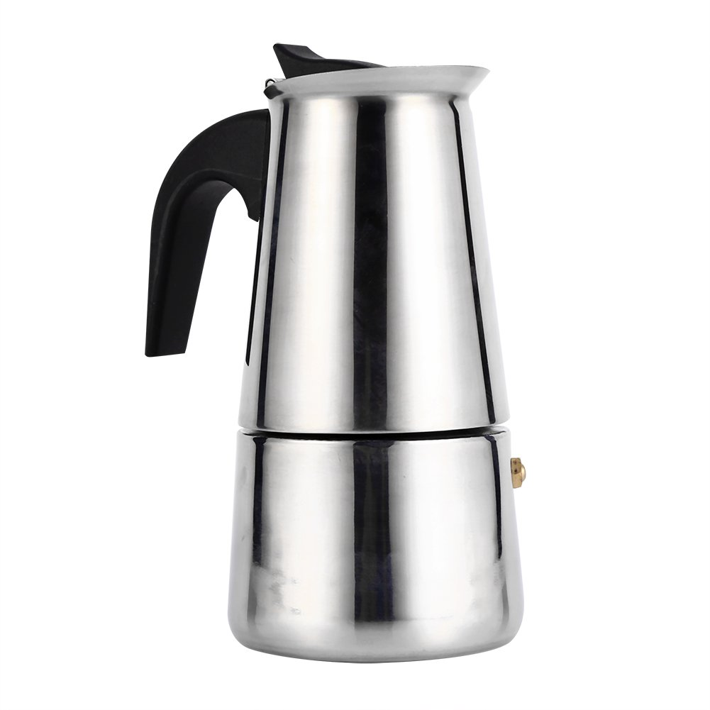VBESTLIFE Stainless Steel Espresso Moka Pot Coffee Maker Home Office Use (100ML)
