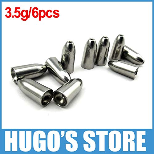 6pcs/lot 3.5g 1/8 Oz Top Tungsten Bullet Sinker Weight Taxas Rig Bass Fishing Accessory Fast Sinking Lead Sinker Replacement ()