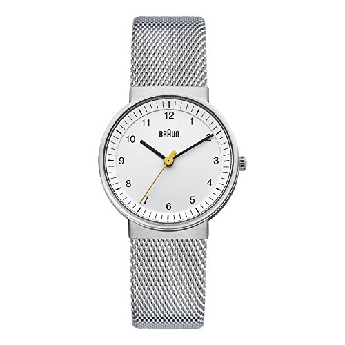 (Braun Women's BN0031WHSLMHL Classic Silver-Tone Watch with Mesh Stainless Steel Bracelet, white dial)