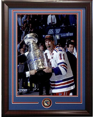 Mark Messier Autographed Signed 16x20 Trophy Photo Framed Rangers Coin Auto Steiner Authentic