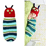 Onwon Crocheted Baby Cute Caterpillar Outfit Beanie Hat Clothes Newborn Photography Props Handmade Knitted for Unisex Infant Boy Girl