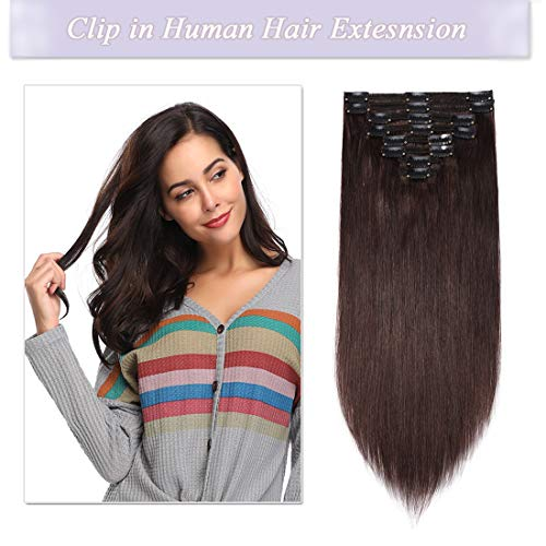 (s-noilite Clip in Human Hair Extensions 100% Real Remy Thick True Double Weft Full Head 8 Pieces 18 clips Straight silky (22 inch - 160g,Dark Brown)