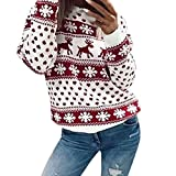 JSPOYOU Women Xmas Christmas Floral Print Cotton Long Sleeve Blouse Top Sweatshirt