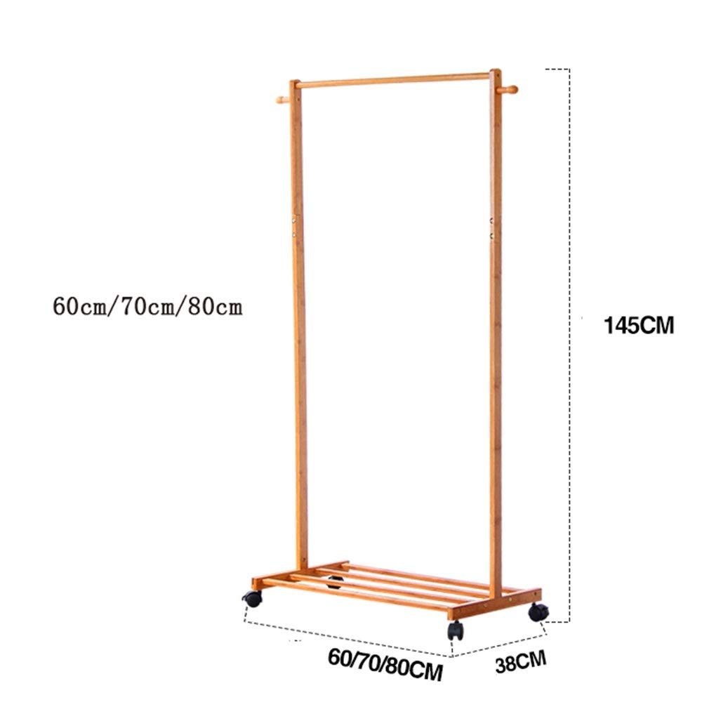 Color : Wood, tama/ño : 60cm Yzibei Perchero Dormitorio Mobile Coat Rack Nan Piso de bamb/ú Percha Simple Hogar Sala de Estar Ropa Multifuncional Rack para pasillos de oficinas en casa