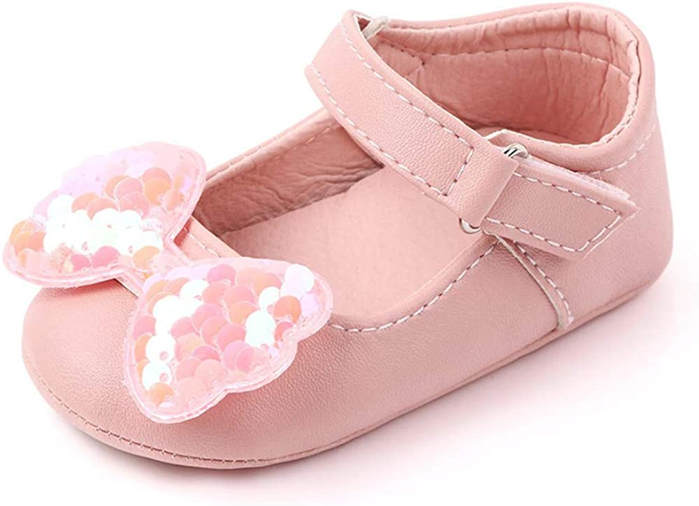 OAISNIT Baby Girl Shoes Mary Jane Flats Anti-Slip Princess Wedding Dress Infant Girl Soft Lightweight Crib Shoes