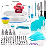 140-Piece Cake Decorating Kit - Silicone and Stainless Steel Baking Supplies & Dessert Making Tools - Bakeware Set with Turntable, Spatula, Russian Piping Tips Nozzles, Pastry Bags, Couplers, Scrapers