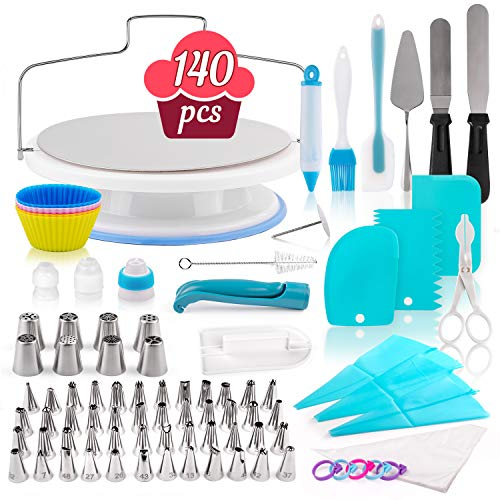 Cake Decorating Kit - 140-Piece Baking Supplies Set with 151 Bonuses, 291 Total - Bakeware Set with Turntable, Spatula, Russian Piping Tips Nozzles, Pastry Bags, Couplers, Scrapers - Great Gift Idea