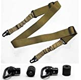 Ultimate Arms Gear Two QD Push 1'' Inch Slot Loop with Bases Stud Free Profile + Two-Point Sling, Tan AR15, AR-15, M4, M-4, M16, M-16 .223 5.56 556 .308