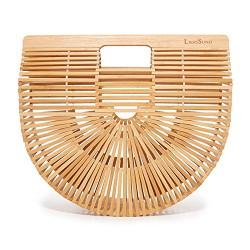 Straw Bag Handbag (LIMOSUNO Bamboo Bags for Women Straw Beach Bag Wooden Handbag Bamboo Purse Summer Tote Bag Bamboo)