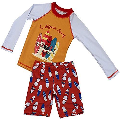 Boys Two Piece Rash Guard Swimsuits Kids Long Sleeve Sunsuit Swimwear Sets(4-5T, Orange)