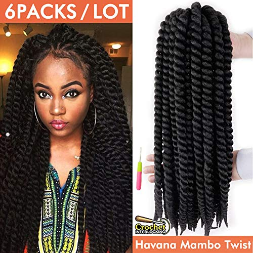 Crochet Twist - Havana Mambo Twist Crochet Hair Braids 6 Packs 18Inches Phoenixfly Kanekalon Senegalese Jumbo Twist Natural Black Crochet Hair Afro Braiding Synthetic Hair Extensions 12 Strands/Pack (#1B)