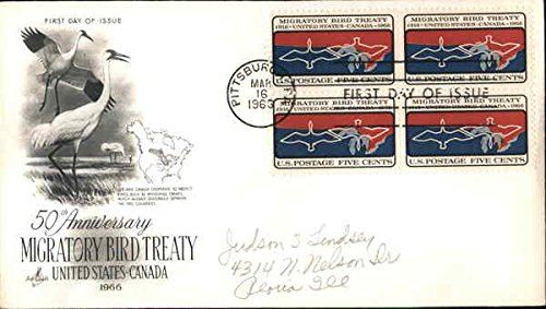50th Anniversary Migratory Bird Treaty UnIted States-Canada 1966 Block of Stamps Original First Day Cover