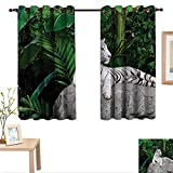 Superlucky Safari Decorative Curtains for Living Room White Tiger Setting on Stone Tropic