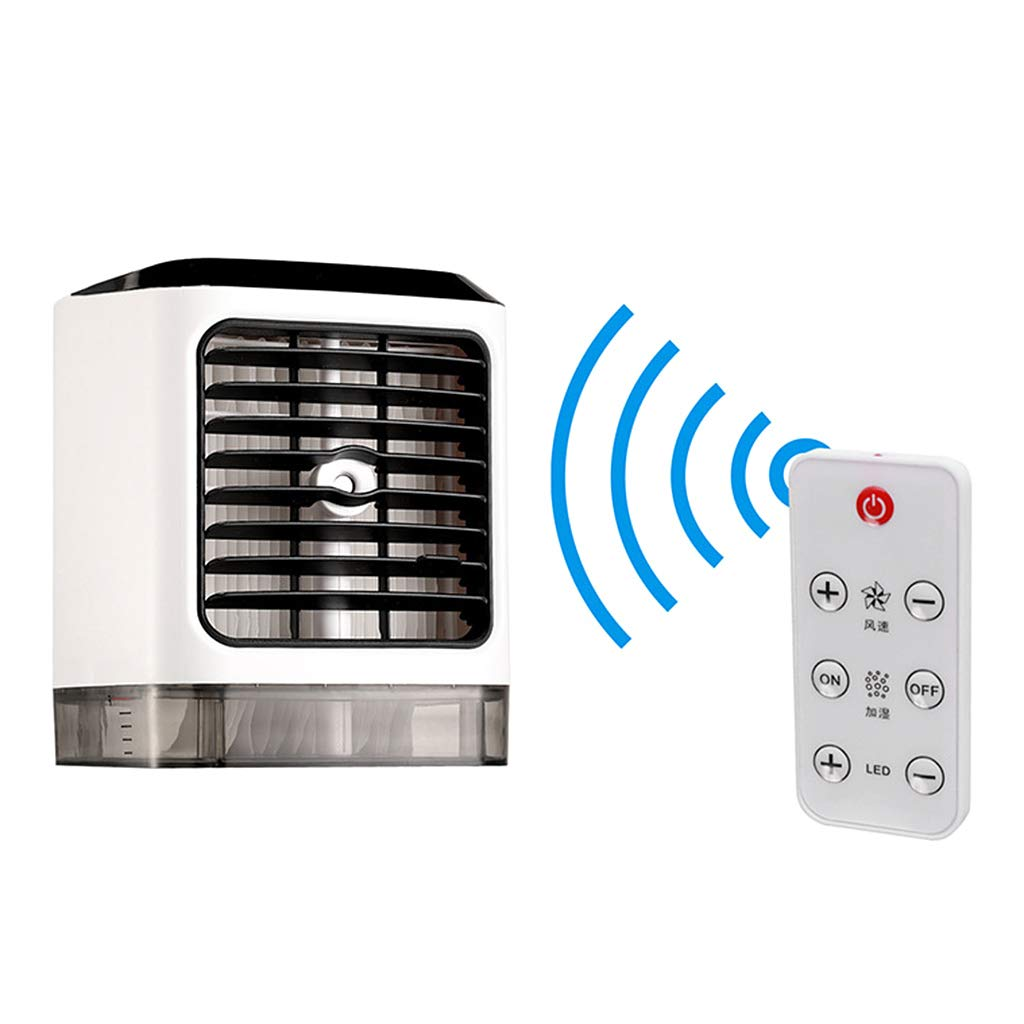 Wqingng Mini Portable Air Conditioner Humidifier Moist Personal Space Cooler Low Noise Purifies Air LED Light Evaporative Small Desk Fan Coolair AC for Home Office Bedroom Outdoor by Wqingng