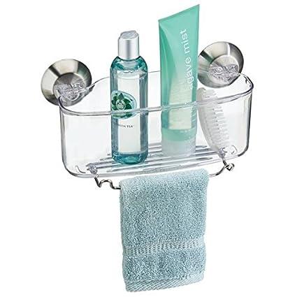 mDesign estantería baño con ventosas - Práctico organizador de ducha de  acero inoxidable - Organizador para df5ef0395184
