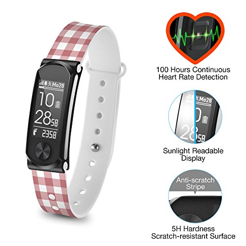 Q-Band Q-68HR-05 Accurate Health & Fitness Tracker Watch - 100 Hours Heart Rate Monitor - Bluetooth Activity Tracker - Sunlight Readable Scratch-Resistant Big Screen - Pedometer Band