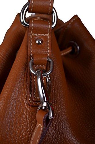 Maxima Milano Grand Sac porté épaule Italien Cuir Grainé Tanne Style Seau - Sac à main Fabriqué en Italie