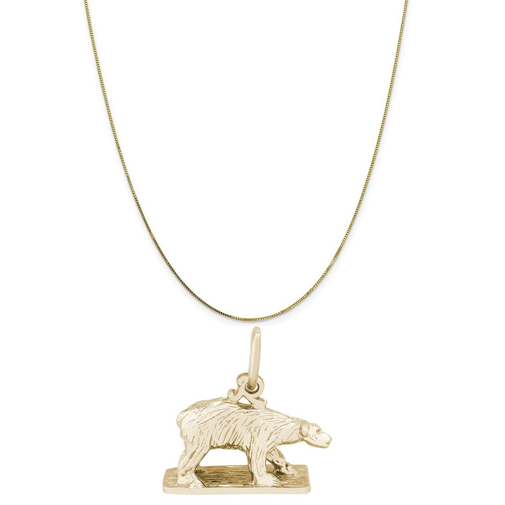 Rembrandt Charms 10K Yellow Gold Polar Bear On Ice Charm on a Box Chain Necklace, 20''