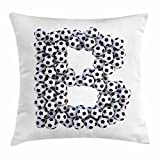 Ambesonne Letter B Throw Pillow Cushion Cover, Soccer Themed Letter Monochrome Classical Balls Pattern Sports Themed Design, Decorative Square Accent Pillow Case, 18 X 18 inches, Black and White