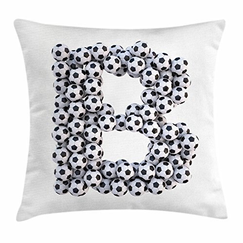 Ambesonne Letter B Throw Pillow Cushion Cover, Soccer Themed Letter Monochrome Classical Balls Pattern Sports Themed Design, Decorative Square Accent Pillow Case, 18 X 18 inches, Black and White by Ambesonne