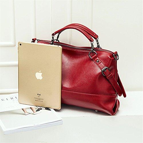 Red Cross Leather Women Satchel Stylish Soft Purse Bag Slouchy Handbag Body amp;Sue Shoulder Mn wZOqx0aZ